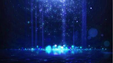 【4K】蓝色粒子雨下落动态背景视频素材