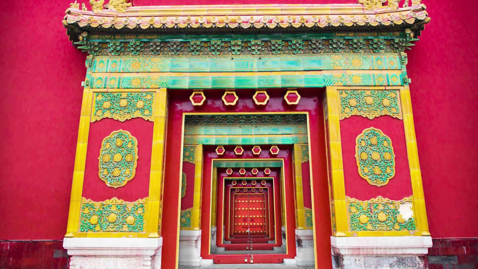 4K中国风红墙?#38750;?#22269;粹背景视频素材