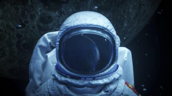 科技太空银河系宇航员穿越特技镜头视频素材